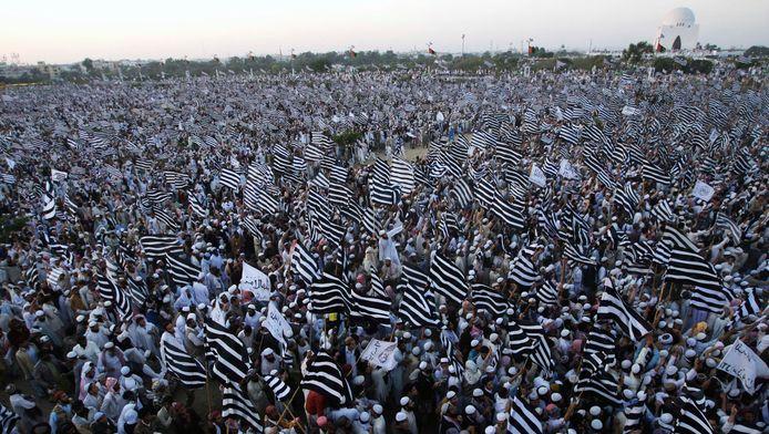 Partisans du parti pakistanais pro-talibans Jamiat Ulema Islam à Karachi (27/1/2011)
