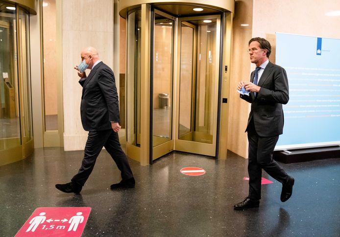 Demissionair minister Ferdinand Grapperhaus en demissionair premier Mark Rutte.