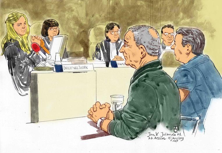 Rechtbanktekeningen van Jan V. en Jolanda H. tijdens de zitting in de rechtbank.  Beeld ANP