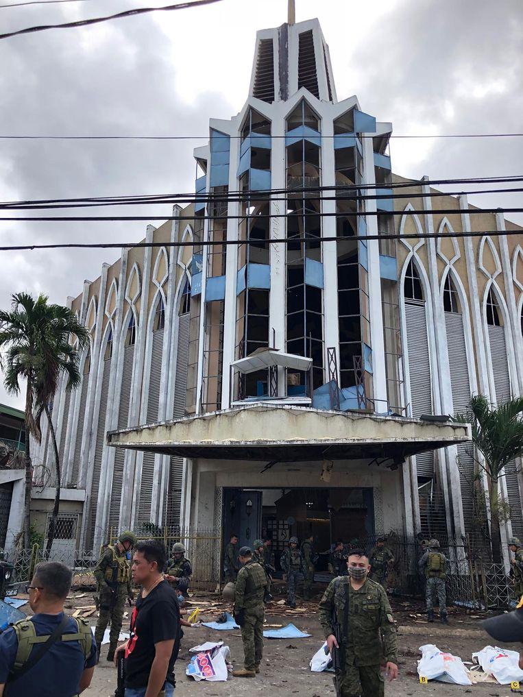 De kathedraal waar de explosies plaatsvonden. Beeld AFP