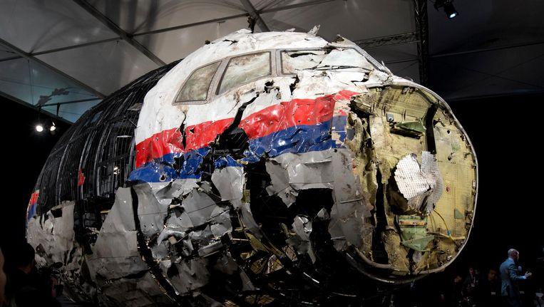 De cockpit van vlucht MH17 tentoongesteld tijdens een persconferentie Beeld ap