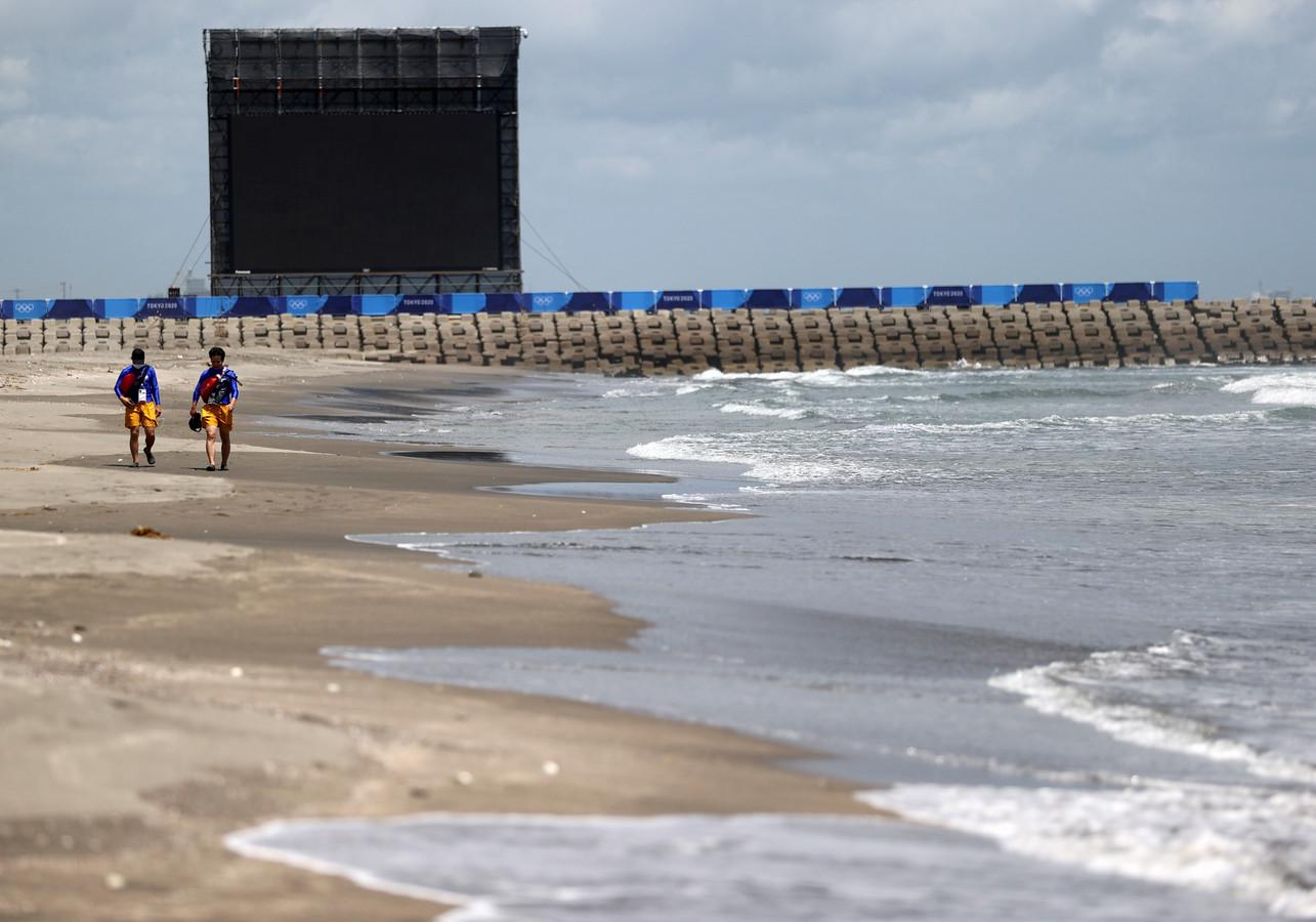 Tsurigasaki Beach, sur l'Océan Pacifique, où se déroulera l'épreuve de surf