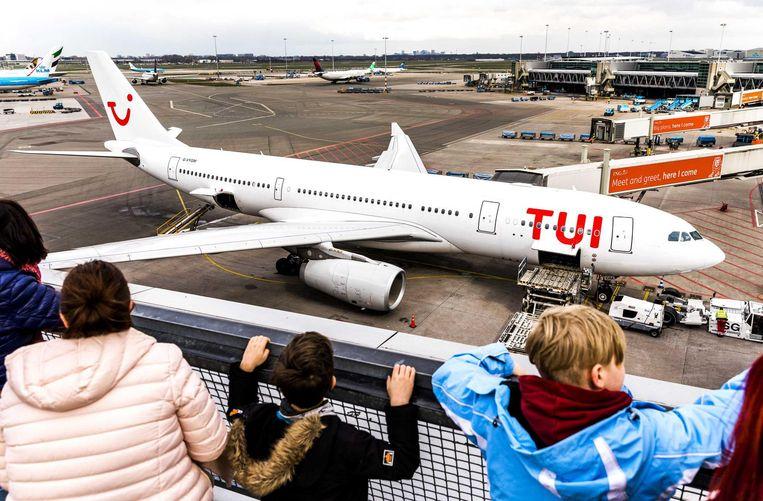 Een toestel van TUI bij Schiphol. Beeld ANP