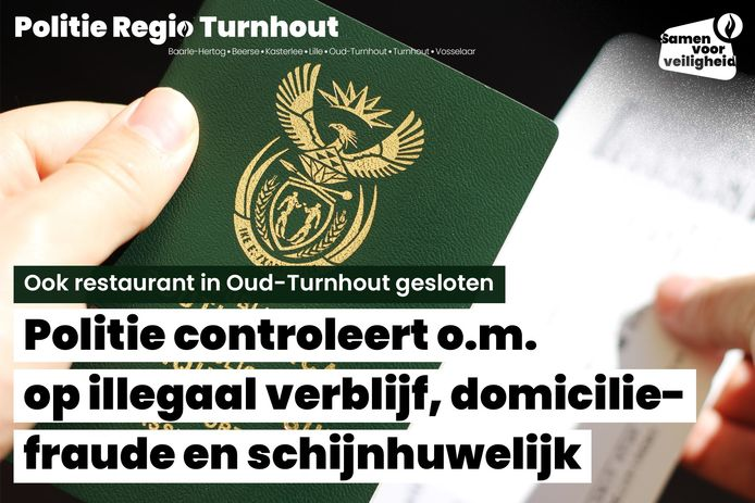 De politie liet een eethuis sluiten in Oud-Turnhout.