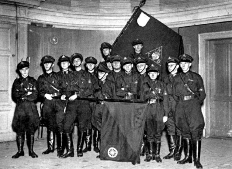 De WA (Weerbaarheidsafdeling) van de NSB uit Wageningen die partijgenoten tegen aanvallen moest beschermen. (FOTO UiT BESPROKEN BOEK) Beeld