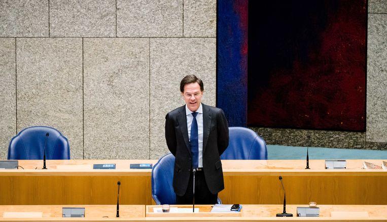 Mark Rutte tijdens het debat in de Tweede Kamer, donderdag. Beeld EPA