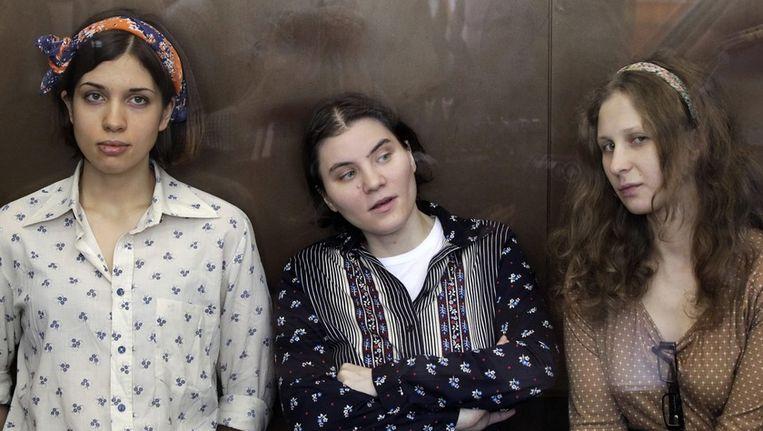 Pussy Riot: Nadezhda Tolokonnikova, Yekaterina Samutsevich en Maria Aliokhina (vlnr). Beeld epa