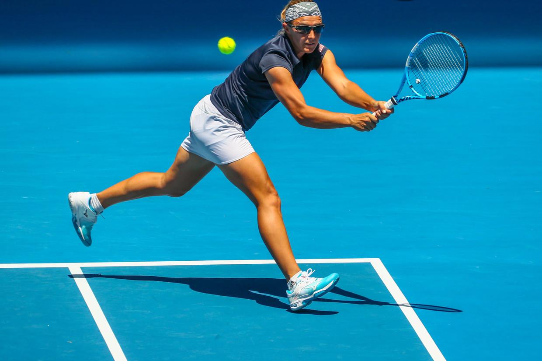 De 33-jarige Kirsten Flipkens (WTA 64), hier op de Australian Open, treft vandaag Monica Puig op Roland Garros. Beeld BELGA