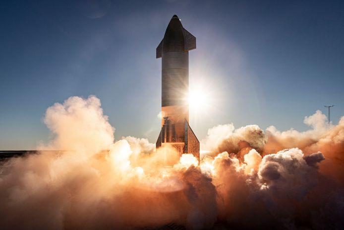 De test van de Starship-raket.