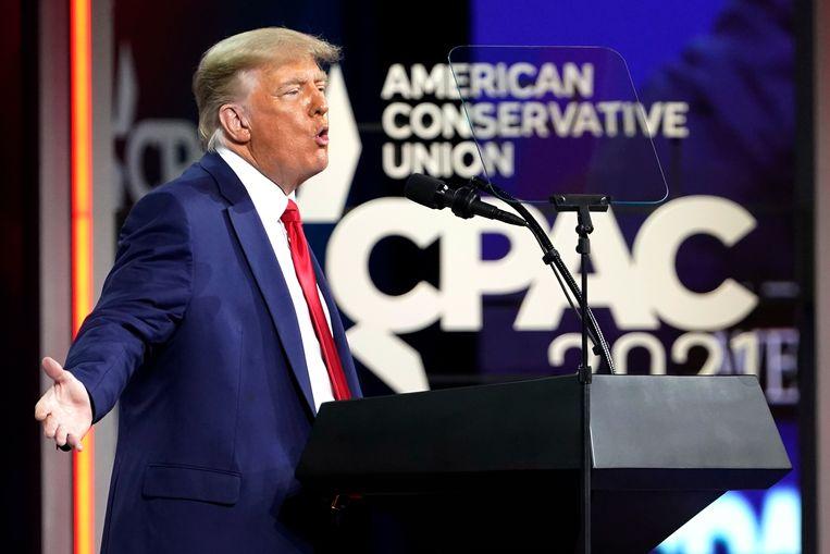 Donald Trump spreekt op de CPAC-conferentie). Beeld AP