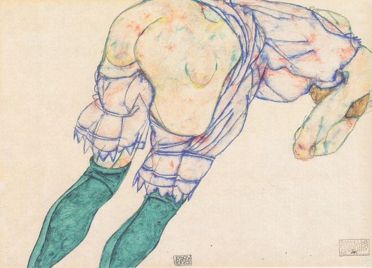 Egon Schiele, 'Meisje met groene kousen', 1914 Beeld RV