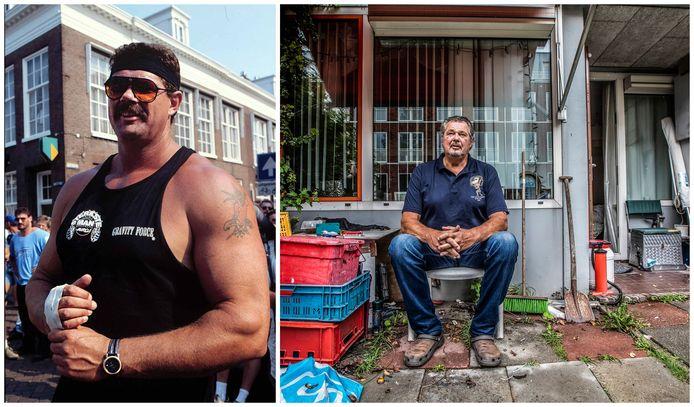 """Ted van der Parre in 1996 en anno nu: ,,Ik kreeg eerst een boomstam op mijn hoofd en in 1998 een vat van 90 kilo op mijn kin. Dat was de genadeklap."""""""