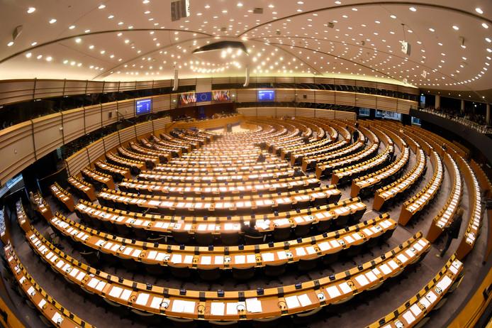 De grote vergaderzaal is de zetel van het Europees Parlement in Straatsburg.