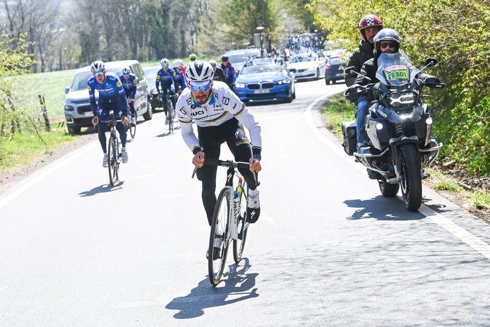 Julian Alaphilippe tijdens de verkenning van Luik-Bastenaken-Luik.