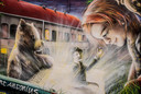 Berke den Hottentot biedt een meisje een okkernoot aan op de muurschildering