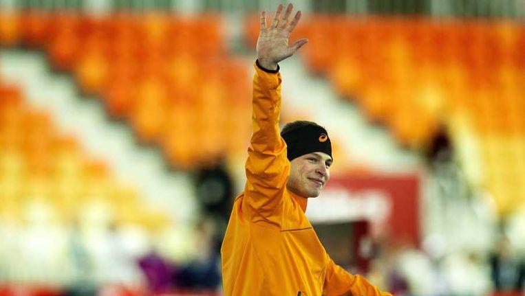 Sven Kramer op het podium na de 5000 meter. Beeld anp