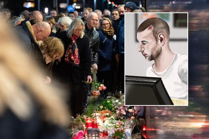 Wim V. (inzet) vermoordde Chantal de Vries tijdens kerstnacht 2019. Op de achtergrond beeld van de stille tocht die in Hengelo voor het jonge slachtoffer werd gehouden.