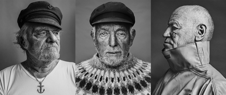 IJslandvissers (v.l.n.r.) Freddy Derees, Henri Laplasse en Noël Coopman. Derees: 'Sommige vissers raakten nooit van hun zeeziekte af. We spraken zelfs af wie waar zijn maag uitkotste: bakboord of stuurboord.' Beeld Stephan Vanfleteren