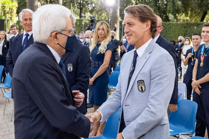 Bondscoach Roberto Mancini kreeg felicitaties van president Sergio Mattarella?