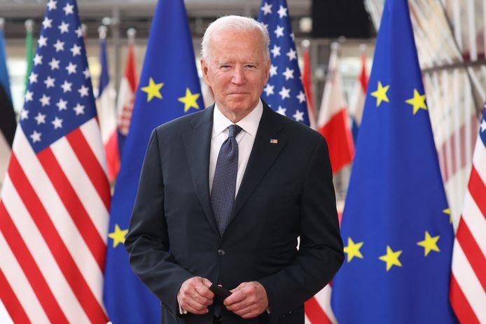 """Joe Biden juste avant le """"sommet UE-USA"""" à Bruxelles ce 15 juin."""
