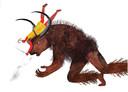 Theseus en het beest, de Minotaurus. Uit het boek 'Het Beest met de kracht van tien paarden'.