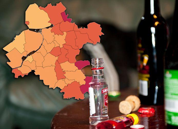 Op deze kaart van het Stentor-gebied is te zien waar in deze regio relatief veel gedronken wordt.