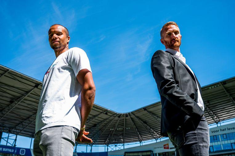 Gent-aanvoerder Vadis Odjidja en assistent-coach Wim De Decker. Beeld BELGA