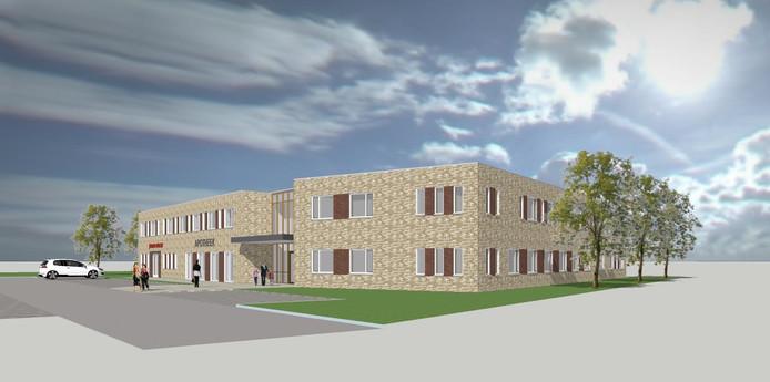 Een artist impression van het nieuwe gezondheidscentrum aan de Prins Hendrikstraat in Drunen, onderdeel van plan Dillenburg.