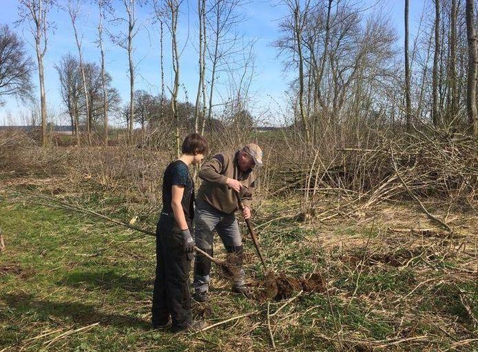 Biotoopdag Holten: Vrijwilligers planten jonge boompjes rondom Holten