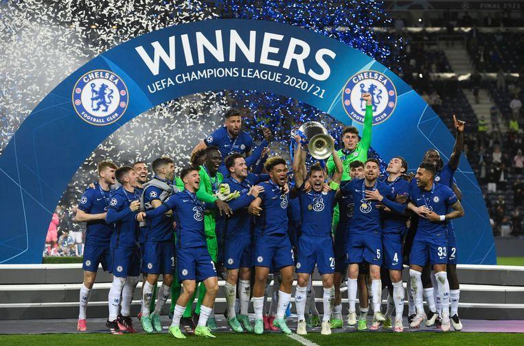 Chelsea viert de overwinning. Beeld Pool via REUTERS