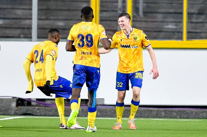 Sint-Truiden, Belgium - January 31 : :t323: celebrates scoring a goal during the Jupiler Pro League match between Sint-Truidense VV and Cercle Brugge on January 31, 2021 in Sint-Truiden, Belgium, 31/01/2021 ( Photo by Sebastien Smets / Photonews