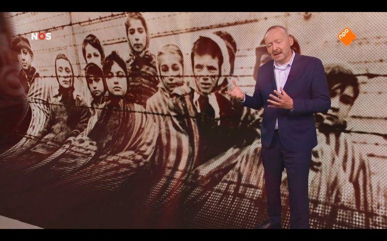 Beeld uit 'Het Bevrijdingsjournaal Extra' met Christ Klep. Beeld
