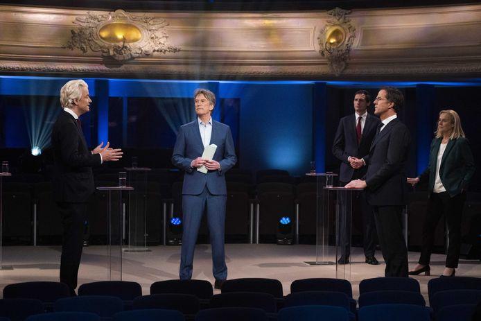 Geert Wilders (PVV) in debat met Mark Rutte (VVD)