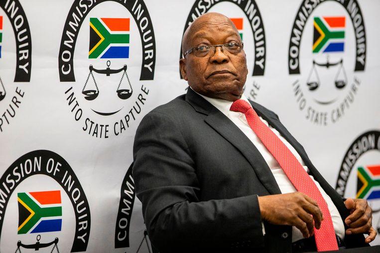 De voormalige Zuid-Afrikaanse president Jacob Zuma verscheen in juli 2019 al voor een commissie vanwege corruptie in zijn tijd als vicepresident. Beeld AFP