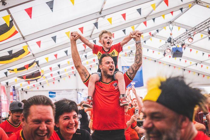 EK 2020, voetbal, rode duivels,Denemarken, supporters, Picasso village in Lochristi