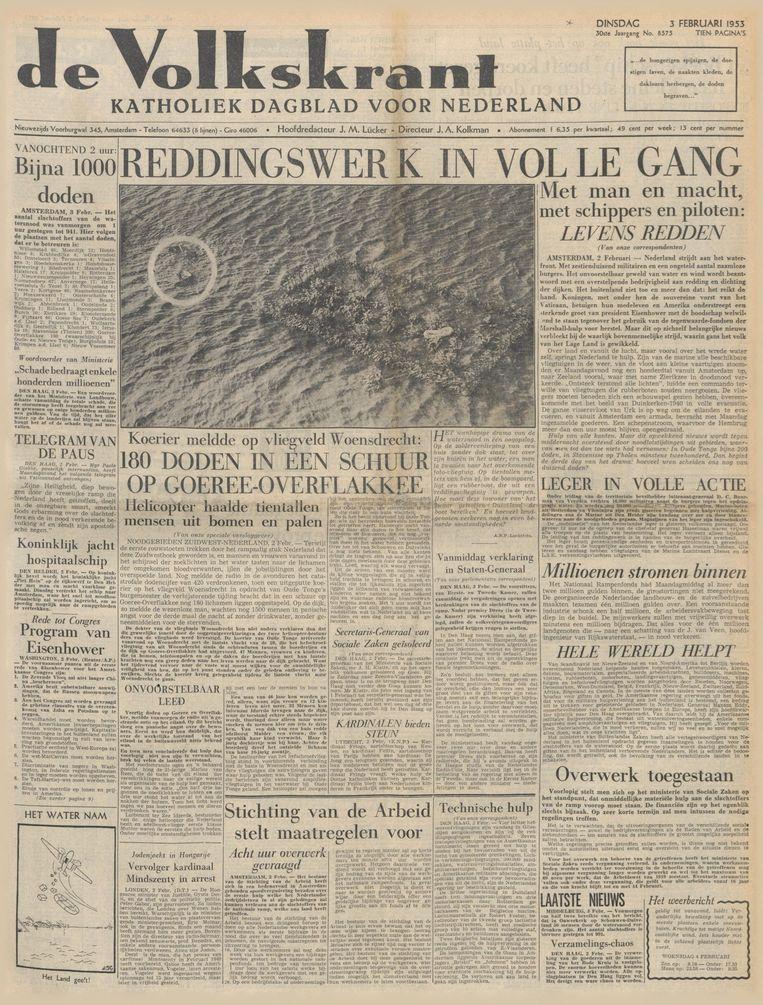 De Volkskrant van 3 februari 1953 Beeld De Volkskrant