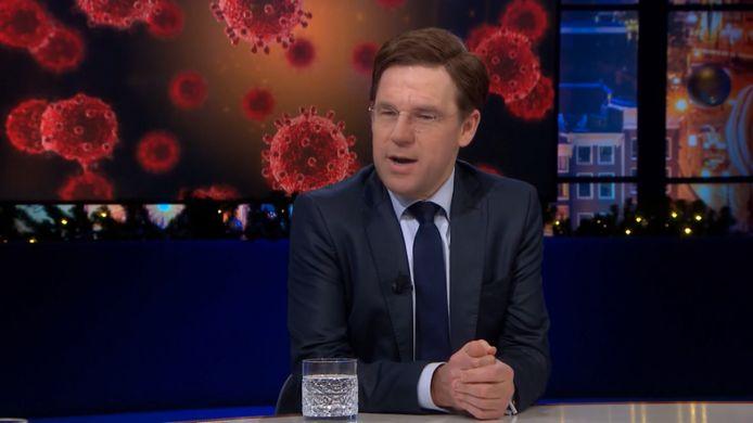 Persiflage van Mark Rutte bij talkshow Beau.
