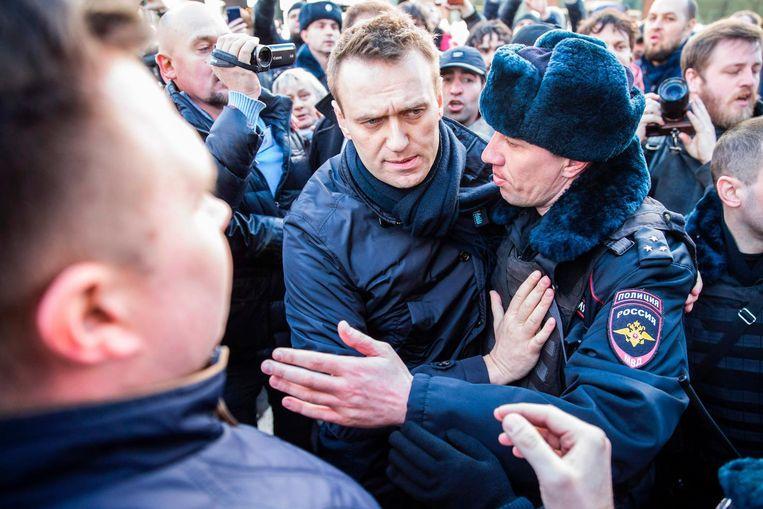 Aleksej Navalny tijdens een anti-corruptie demnonstratie in Moskou op 26 maart. Beeld AFP