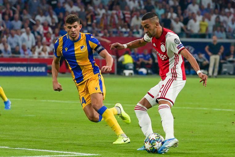 Onder impuls van Hakim Ziyech plaatst Ajax zich voor het kampioenenbal. De halvefinalist van vorig seizoen moest zowaar voorrondes spelen. Beeld Photo News