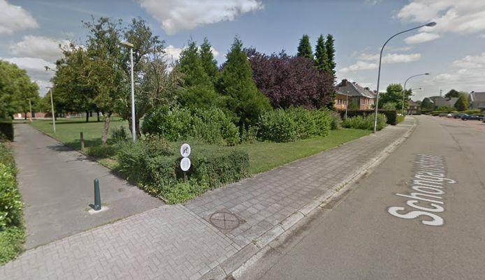 Het 'wonderwoud' komt in de bestaande groenzone (links) tussen de Schongaustraat en Beneluxstraat.