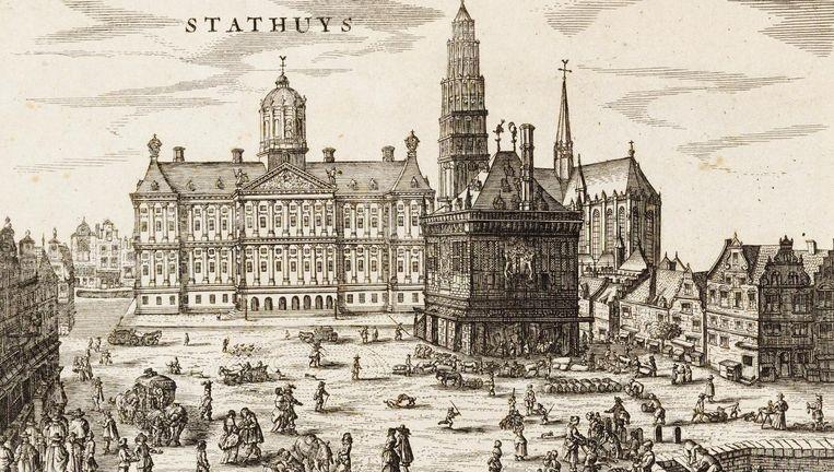 Ets (ca. 1640-1662) met de toren van de Nieuwe Kerk zoals die had moeten worden, naast het nieuwe stadhuis en de Waag Beeld Collectie Stadsarchief Amsterdam