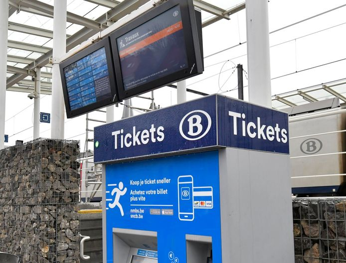 Jette, Belgium - February 2 : National Railway operator SNCB, NMBS announced the closure of manned tickets booths in 44 train stations. They will be replaced by automated vending machines. Booth in Jette station due to close soon pictured on February 02, 2021 in Jette, Belgium, 02/02/2021 ( Photo by Philip Reynaers / Photonews