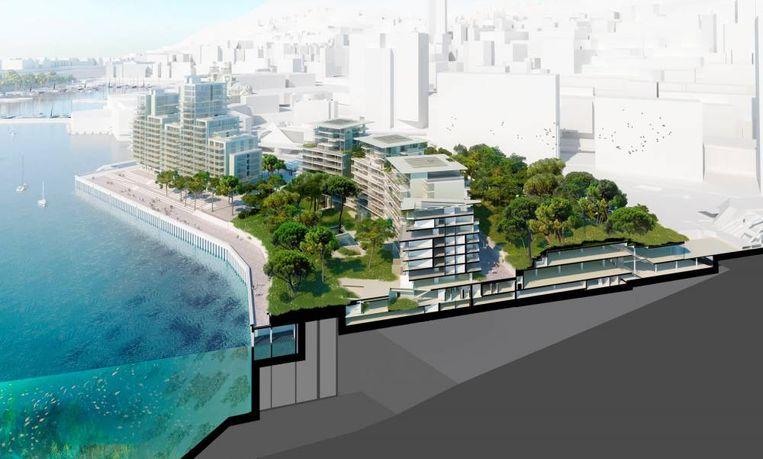 De nieuwe woonwijk van Monaco komt vlak bij het Monte Carlo Casino. Het breidt de dwergstaat uit met 15 hectare. Beeld Valode & Pistre/Bouygues Construction