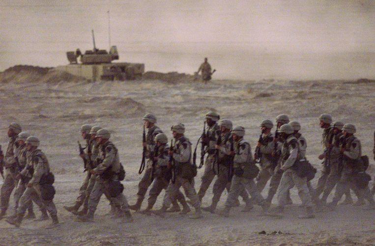 Archiefbeeld. Amerikaanse soldaten in de Golfregio in 2001 Beeld AP