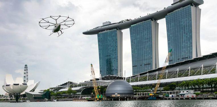De VeloCity heeft al demonstratievluchten in Singapore gemaakt en komt daar in 2023 als elektrische luchttaxi in dienst. Beeld VoloCopter