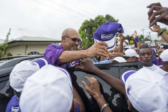 Desi Bouterse, president van Suriname, op campagne in 2015.