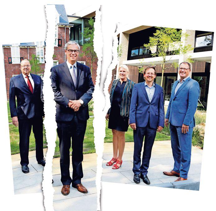 Het Waalrese college van B en W. Van links naar rechts staan aan de achterzijde van het gemeentehuis: wethouder Loek Kruip, burgemeester Jan Brenninkmeijer, wethouder Lianne Smit, wethouder Alexander van Holstein en wethouder Arno Uijlenhoet.