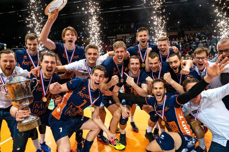 Het Achterhoekse Orion behaalde de landstitel door in het vijfde en beslissende play-offduel in Groningen van Lycurgus te winnen. Beeld Ronald Hoogendoorn