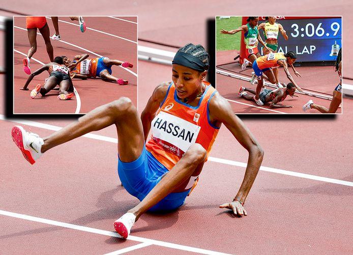 Sifan Hassan ligt op de grond nadat ze struikelt over de voor haar gevallen Keniaanse Edinah Jebitok.