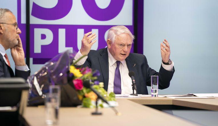 Scheidend voorzitter Jan Nagel tijdens de openbare virtuele ledenvergadering van 50Plus. Beeld ANP